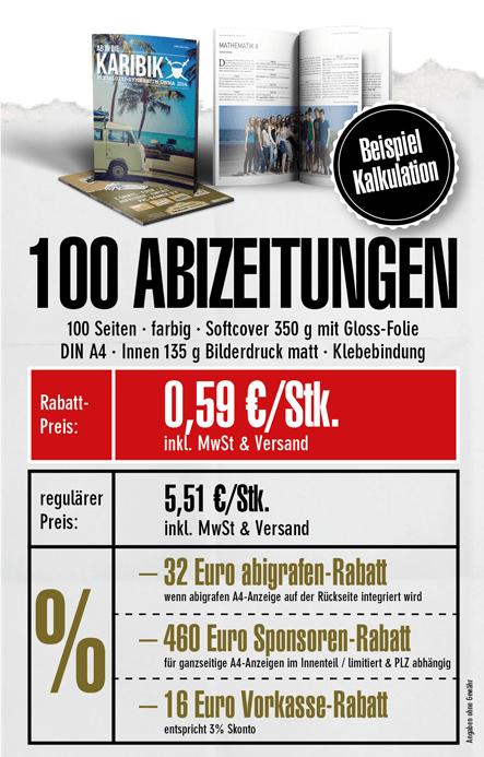 Abizeitung günstig drucken mit Werbeanzeigen (Beispiel Kalkulation 100 Stk)