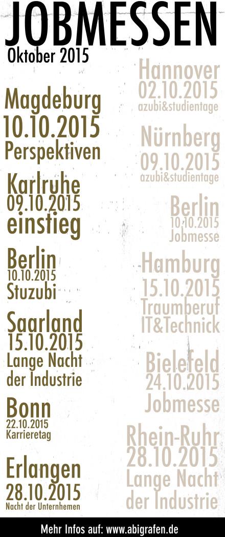 Karriere/ Berufsmesse / Jobmessen / Schuelermessen / Karrieremessen / Berufseinsteiger / Abiturienten / Juli / azubi & studientage / Kessel / Berufswahl/Jobmessen im Oktober 2015