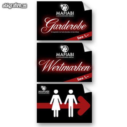 Hinweis Schilder  für Wertmarken, Garderobe, WC
