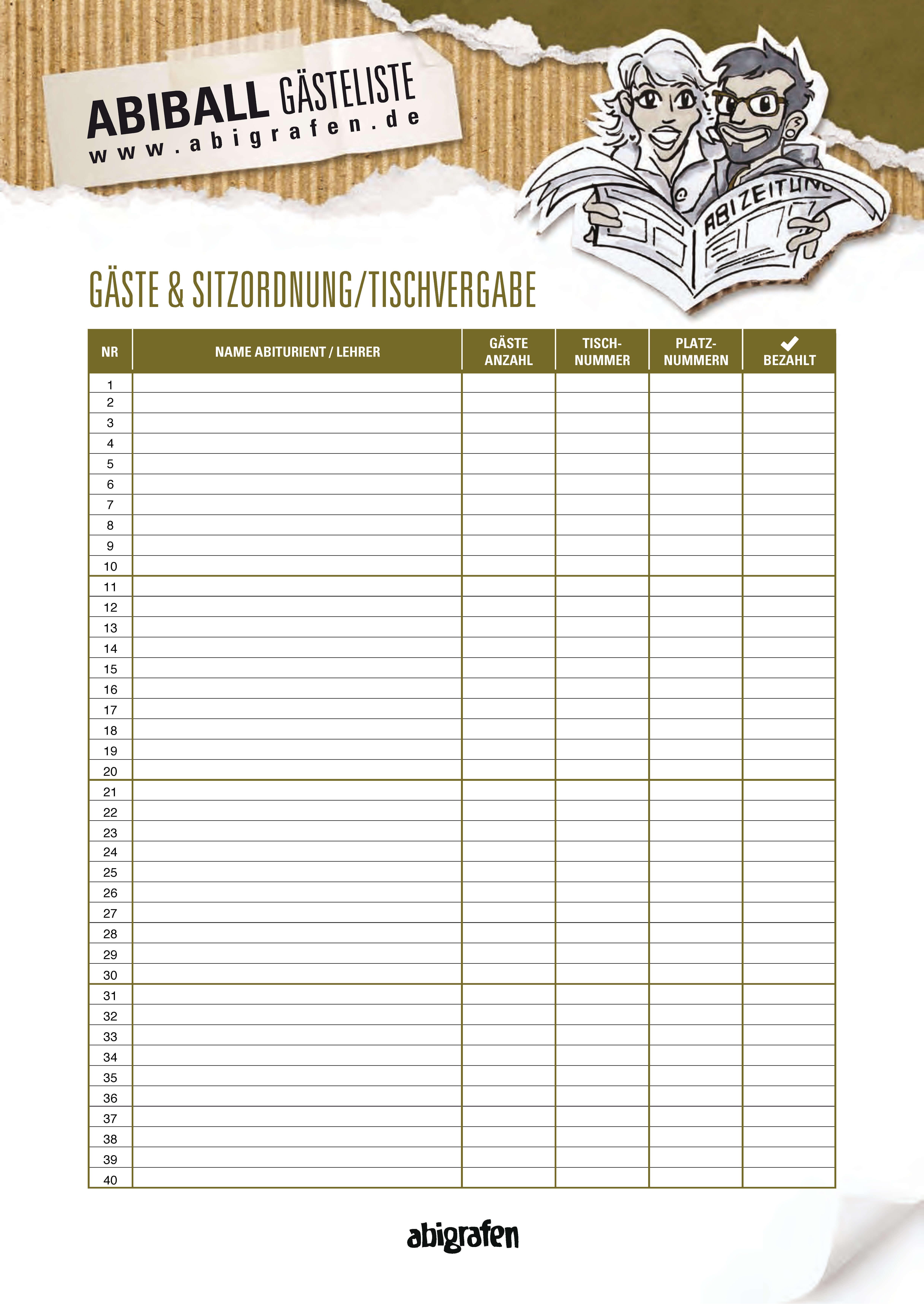 abigrafen.de - Druckvorlage Gästeliste / Sitzordnung / Tischvergabe für den Abiball