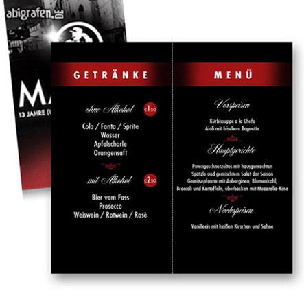 individuelle Menükarten/getränkekarten für den Abiball (passend zum Abi Motto)