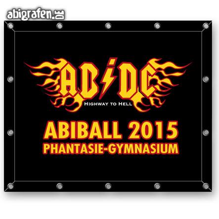 mit Abi Motto bedruckte Planen für den Abiball (Deko Idee)