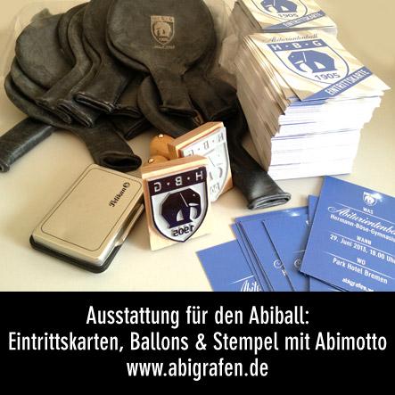 Abiball Ausstattung. Eintrittskarten drucken, Luftballons mit Abilogo, Einlass-Stempel mit Abilogo
