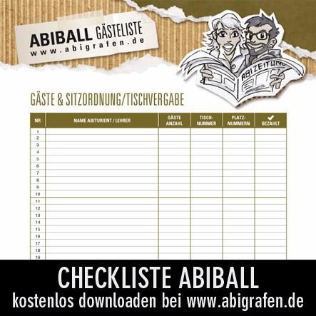 Checkliste für die Abiball Sitzordnung / Tischvergabe / Gästeliste
