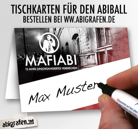 Sitzordnung Abiball / Abiturientenball: Tischkarten / Namenschilder