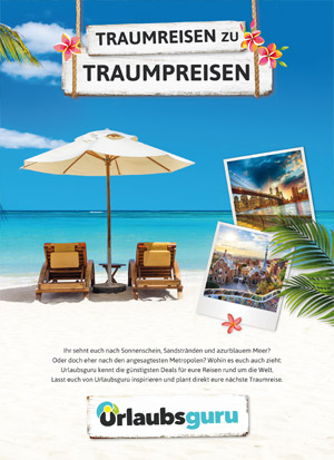 Werbeanzeige Abizeitung/Abibuch (Sponsor Urlaubsguru)