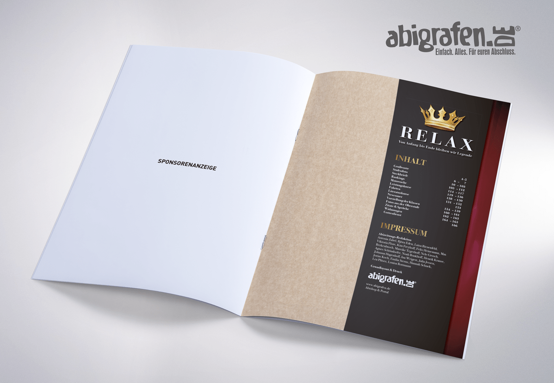 Inhaltsangabe Abizeitung/Abibuch – Layout Idee Relax