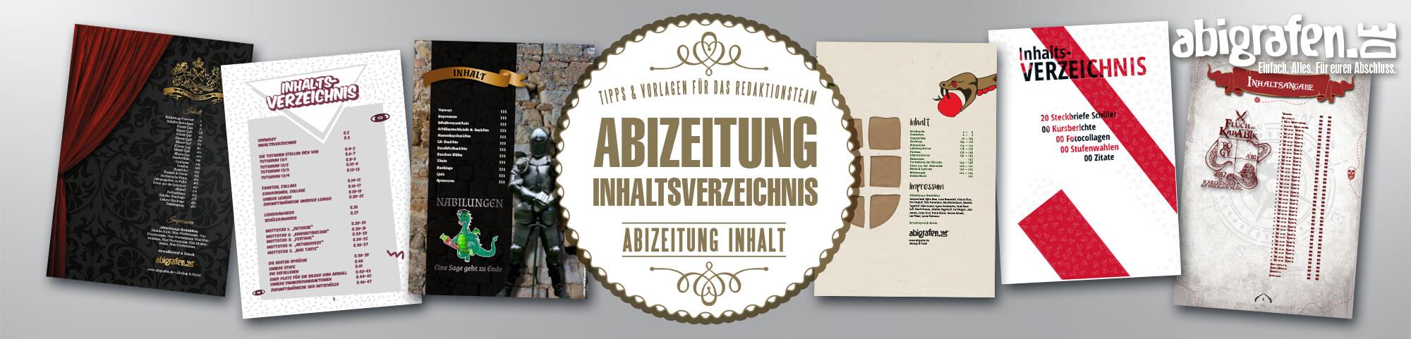 Ideen & Beispiele für das Inhaltsvereichnis in Abizeitung/Abibuch
