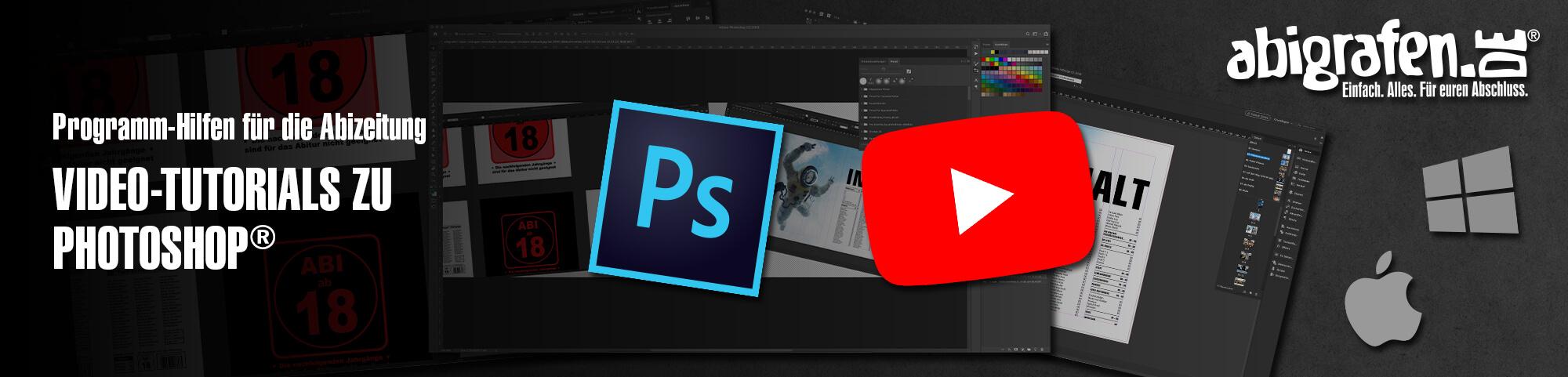 Programmhilfen für die Abizeitung: Video-Tutorials und Anleitungen zu Photoshop für die Erstellung eines Abibuchs / einer Abizeitung auf abigrafen.de®