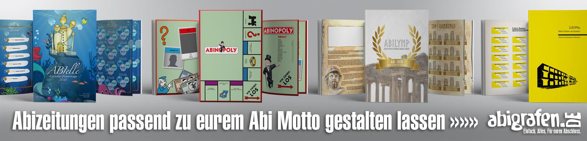 Layout von Abizeitungen/Abibüchern passend zum Abi Motto (Grafikservice)