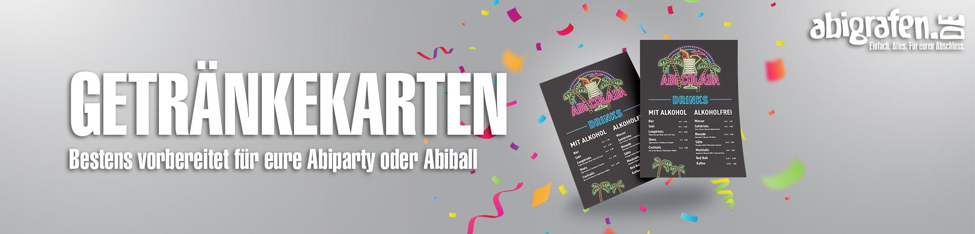 Produktinformationen, Layoutoptionen & Druck von Getränkekarten für Abifeier, Abiball, Abi Party
