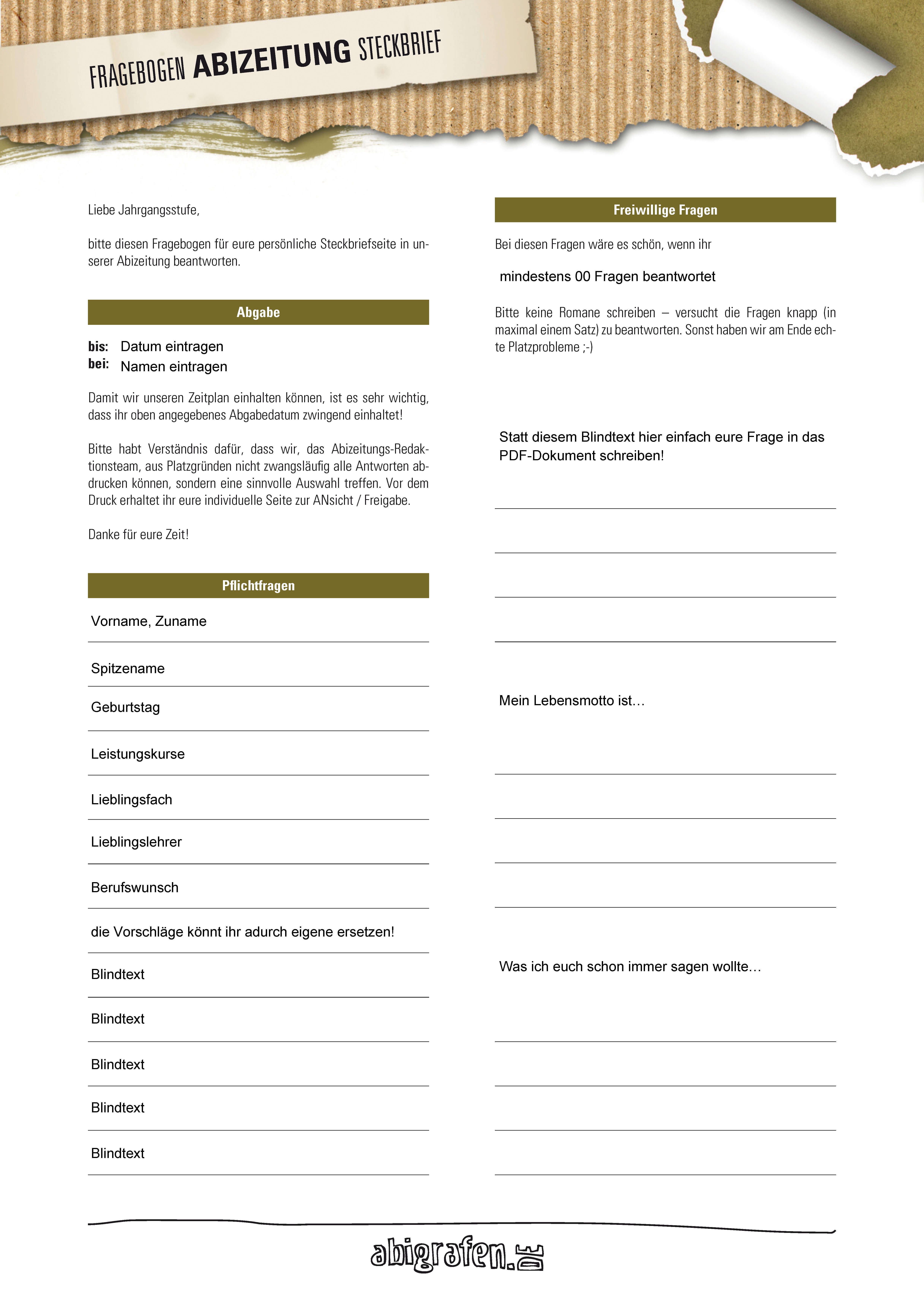 abigrafen.de - Kostenlose Vorlage – Lehrer-Steckbriefe Abibücher