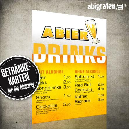 Abiparty Ausstattung: Getränkekarten (Druck & Layout)
