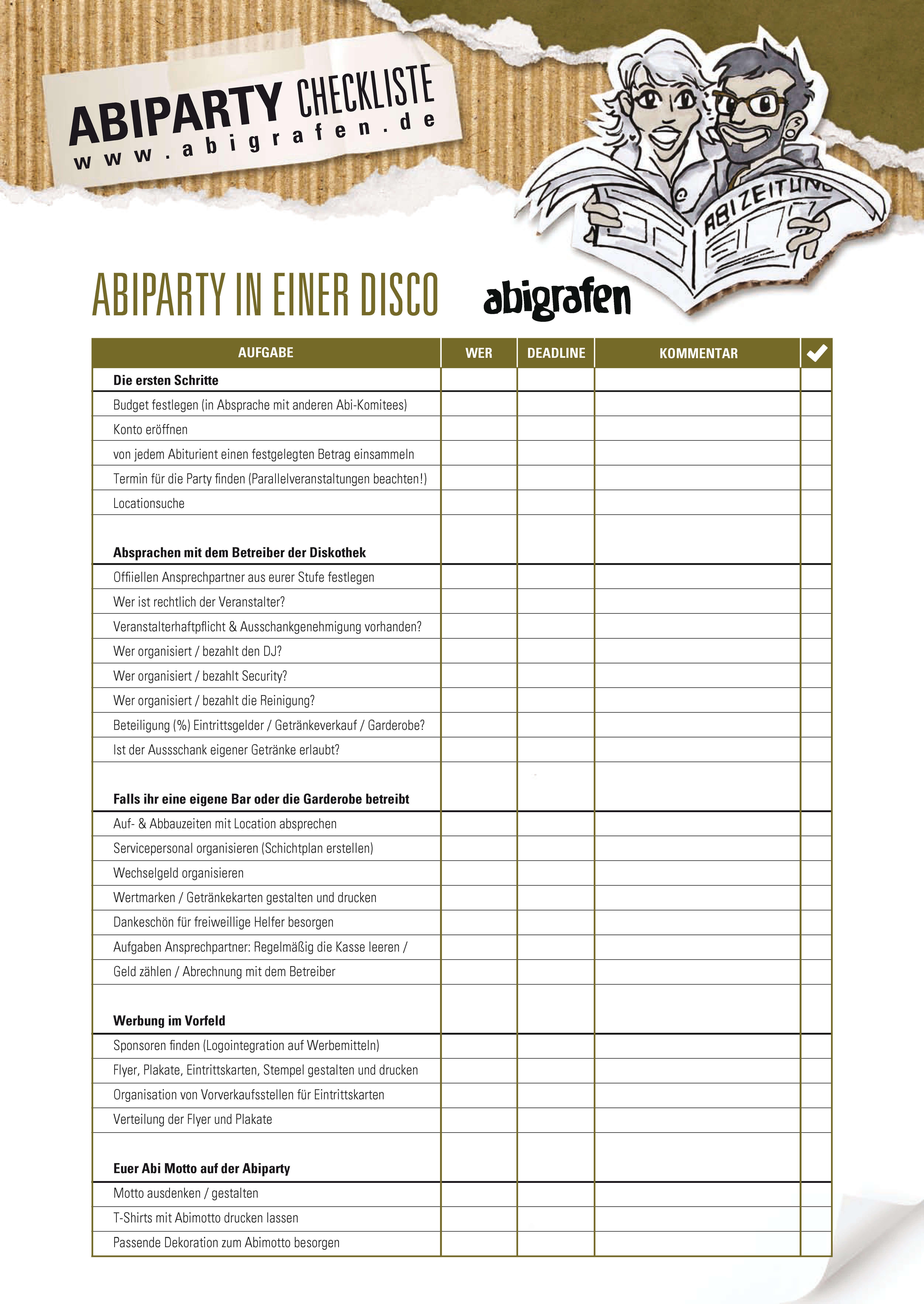 abigrafen.de - Checkliste für die Abiparty in der Discothek