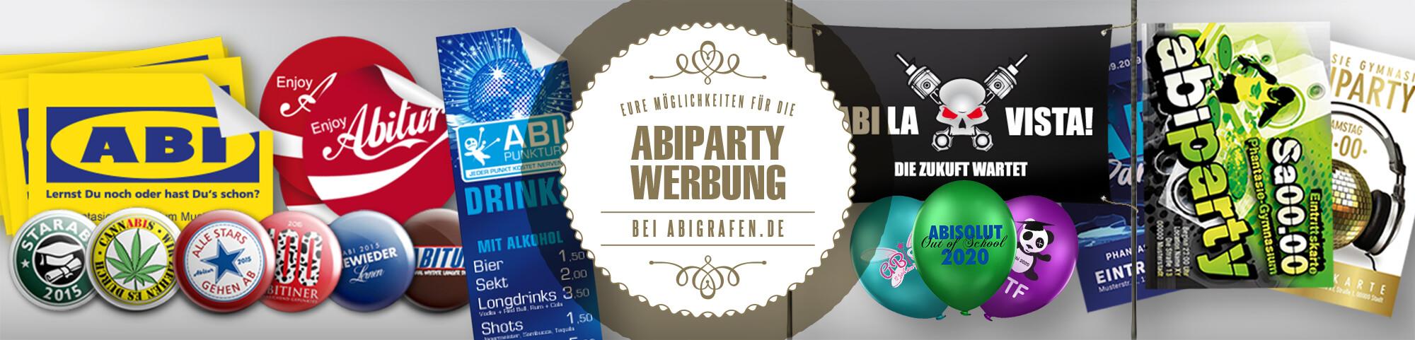 Abiparty Werbung: Mit Plakaten/Postern, Flyern, Bannern, Aufklebern, Ballons und vielen weiteren Produkten einfach Geld für die Abikasse verdienen