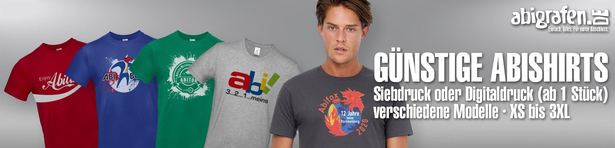 hochwertiger Textildruck auf T-Shirts, Abishirts, Abschlussshirts (Abi Motto/Stufenliste) - ab 1 Stück