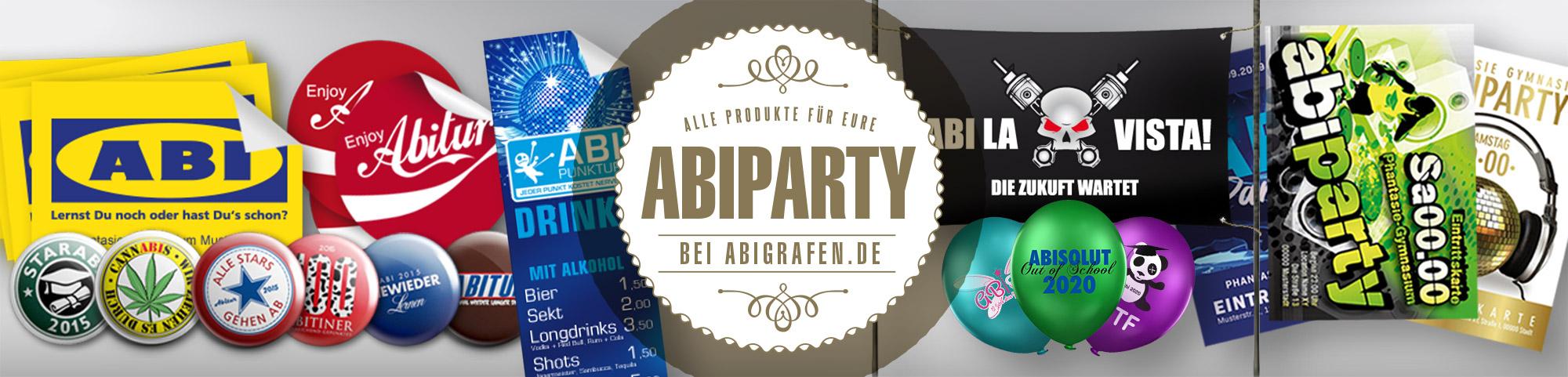 Abishop: Produkte für die Abi-Party drucken (Ballons, Plakate, Getränkekarten, Banner, Hinweisschilder u.v.m.)