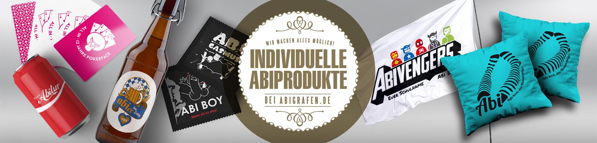 Individuelle Abisachen/Abiprodukte mit Abi Motto, Abschlussmotiv oder Schullogo: Kissen, Kondome, Flaschen, Dosen, Kisten, Flaggen, Spielkarten, Bier, UV-Lack, Prägungen, Gold und mehr