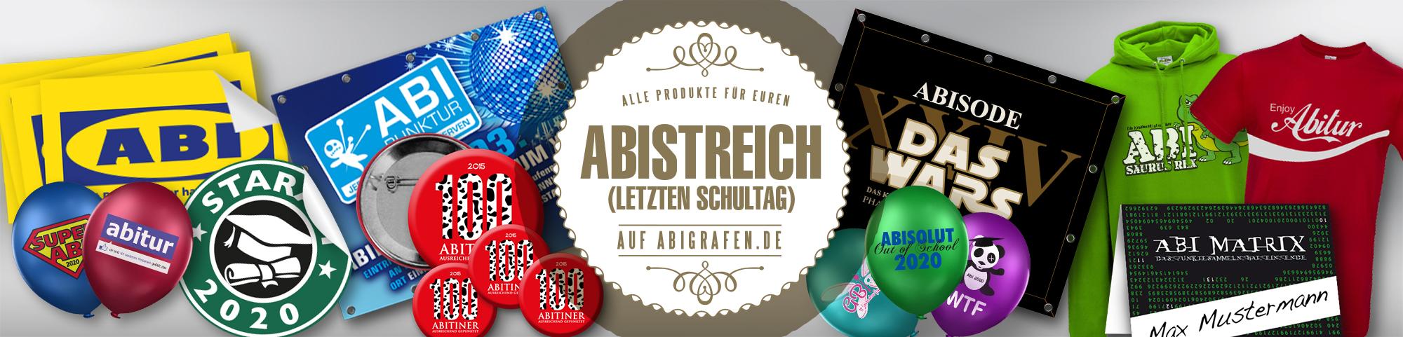 Abishop Produkte für den letzten Schultag (Abigag, Abischerz, Abisturm, Chaostag): Dekorationsartikel, Abschlussshirts & Accessoires bedruckt mit Abilogo