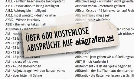 Abisprüche Liste: Über 600 kostenlose Abisprüche auf abigrafen.de
