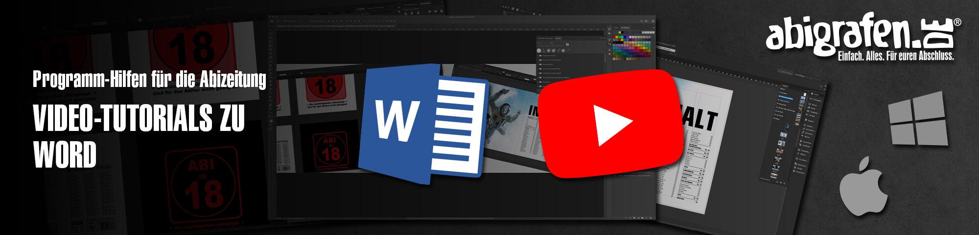 Programm-Hilfen für die Abizeitung: Video-Tutorials zu Word um selber eine Abschlusszeitung zu erstellen auf abigrafen.de®