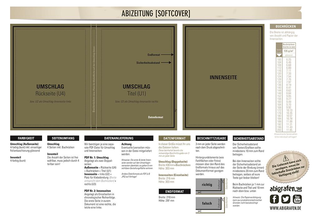 Druckvorlage für Abizeitungen (Softcover Umschlag)