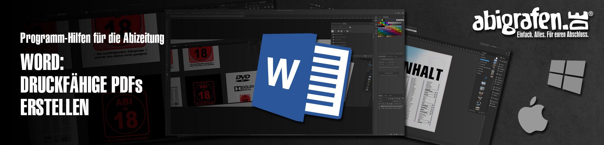 Programm-Hilfen für die Abizeitung – Word: Druckfähige PDFs mit Word erstellen | PDF-Datei von Abizeitung/Abibuch aus Microsoft Word exportieren