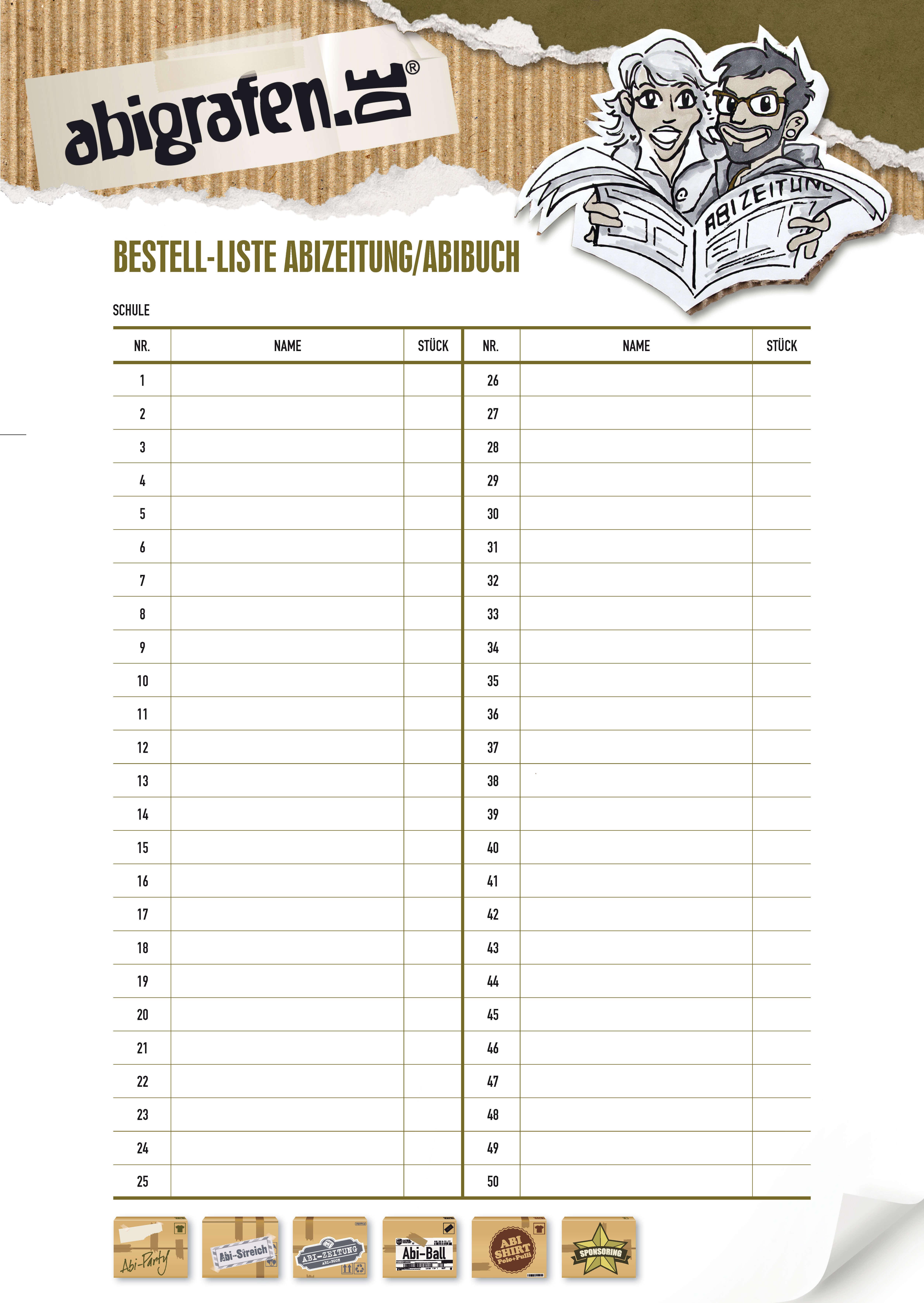 abigrafen.de - Tipps & Tricks für die Abizeitung - Bestelliste