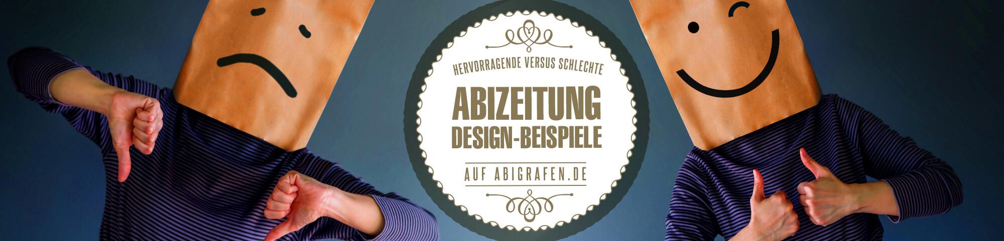 Design-Beispiele Abizeitung/Abibuch inkl. Visualisierung und Analyse von guten und schlechten Designs im Vergleich