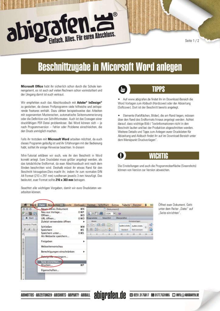 Anleitung Abizeitung mit Word erstellen: Beschnittzugabe einstellen