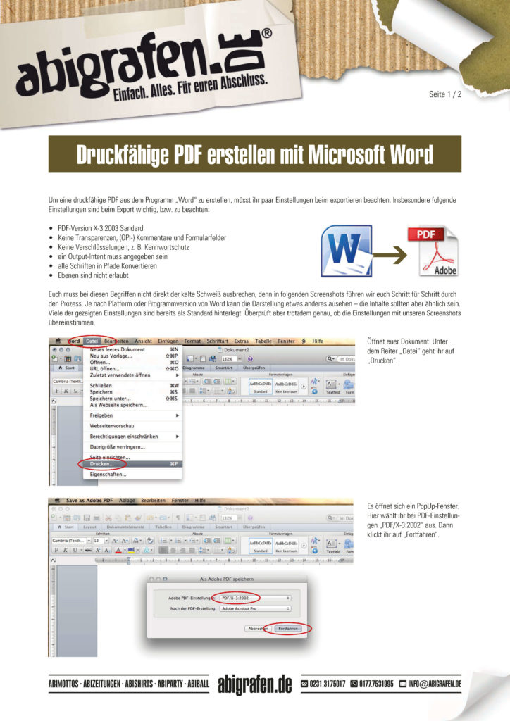 Anleitung Abizeitung mit Word erstellen: Druckfähige PDF Datei erzeugen