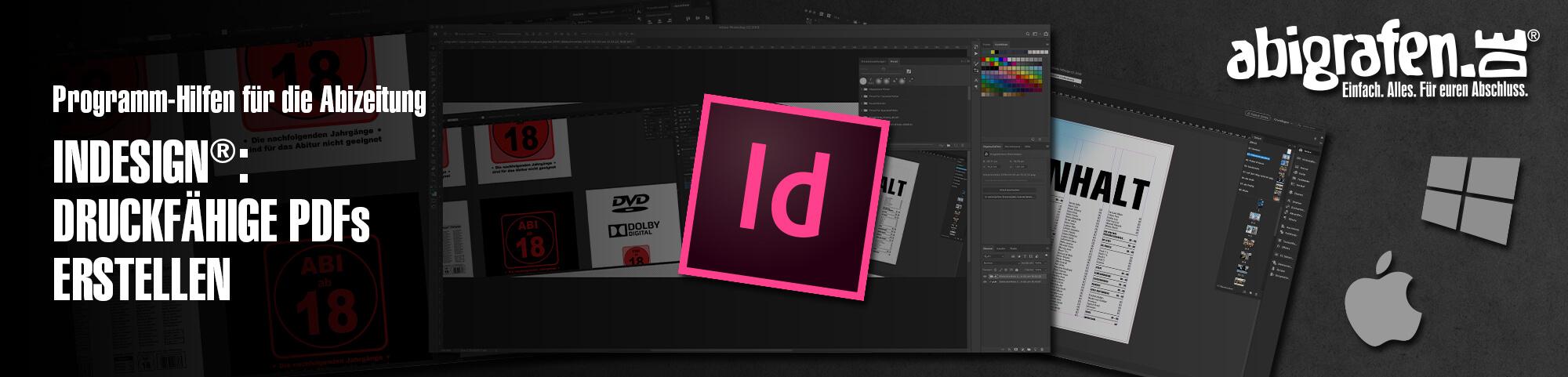 Programm-Hilfen für die Abizeitung – InDesign®: Druckfähige PDFs erstellen | Abizeitung / Abibuch exportieren mit Video-Tutorial auf abigrafen.de®