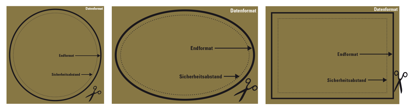 Ansicht Druckvorlage für Aufkleber (rund, oval, eckig)