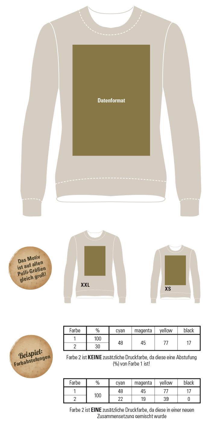 Ansicht Druckvorlage für Abipullis/Sweatshirts