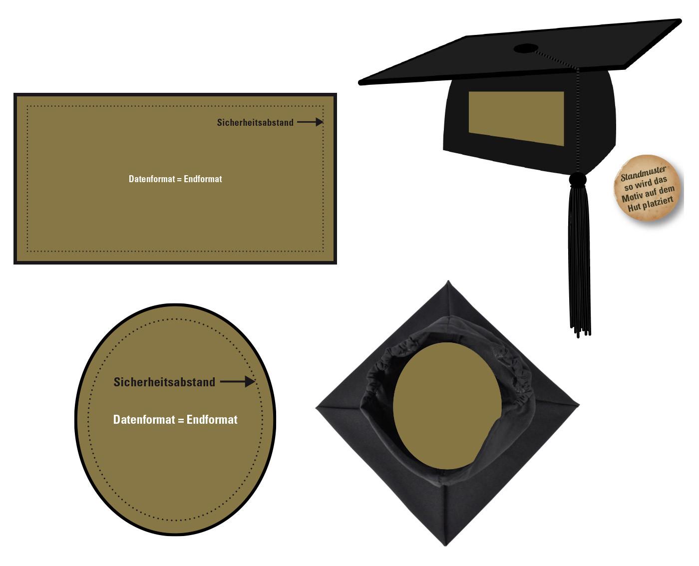 Datenformate und Druckvorlagen für Doktorhüte oder Collegehüte mit Abimotto bedruckt