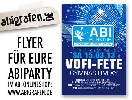 """Flyer Abiparty oder Abiball. Bestellen im Onlineshop """"abigrafen.de"""". Selbst gestalten oder fertiges Layout wählen."""