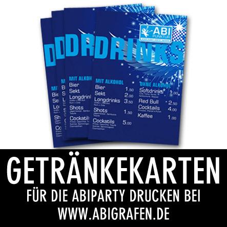 Abi Druckerei: Getränkekarten drucken für die Abiparty / Abifete / Vorfinanzierungsfete / Abifeier