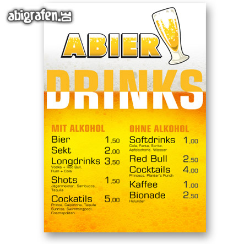Drucksachen für die Abi Party: individuelle Getränkekarten