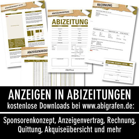 Abizeitung Hilfe – Kostenlose Downloads: Sponsorenkonzept, Akquiseübersicht, Anzeigenvertrag, Rechnung, Quittung