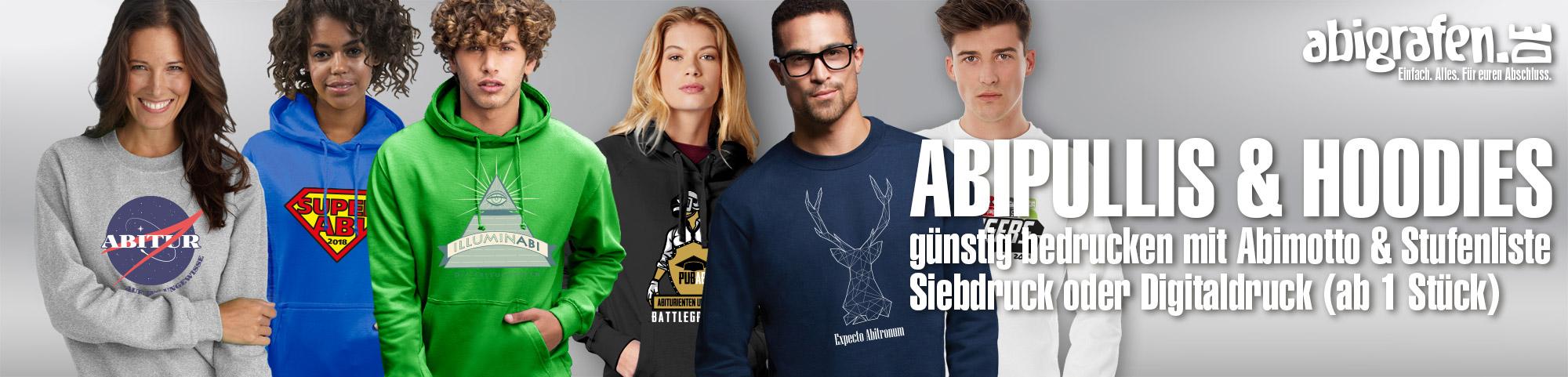 Textildruck mit Abimotto auf Hoodies, Kapuzenpullis, Sweatshirts