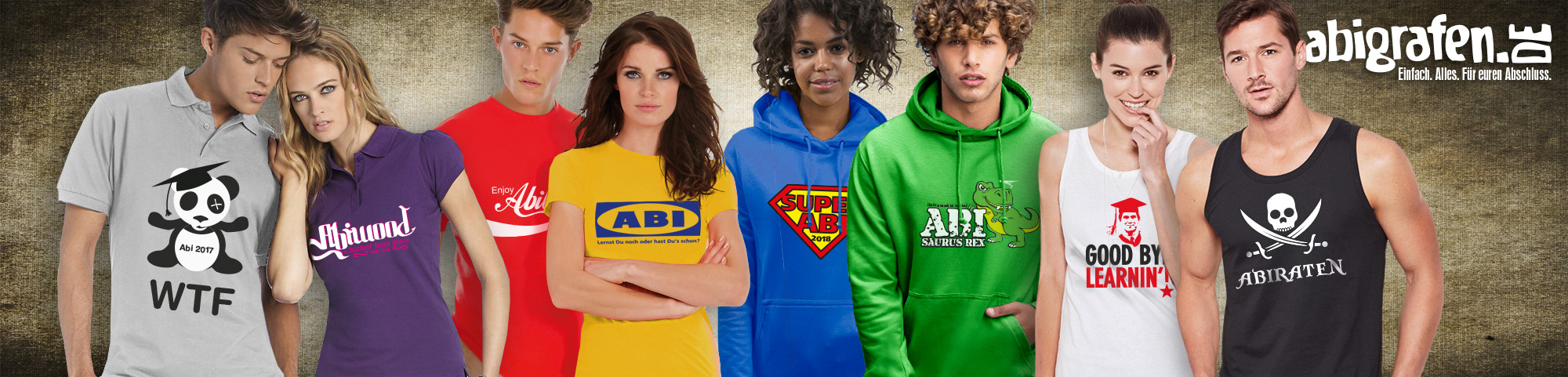 Abi-Textilien bedrucken: Hoodies, Tops, Polos, Sweatshirts, Pullis, Abschlussshirts