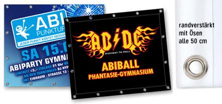 Abishop: Banner / Planen individuell bedrucken für Abistreich/Abiball