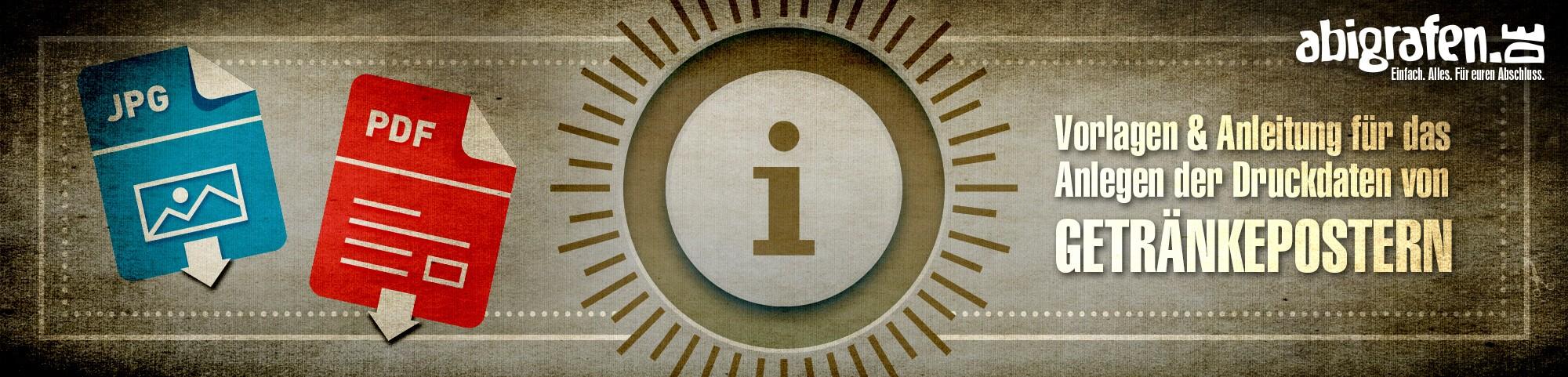 gratis Druckanleitung und Mustervorlagen mit Beschnitt und Auflösung zum Abi Party Plakate drucken (DIN A3, DIN A2, DIN A1)