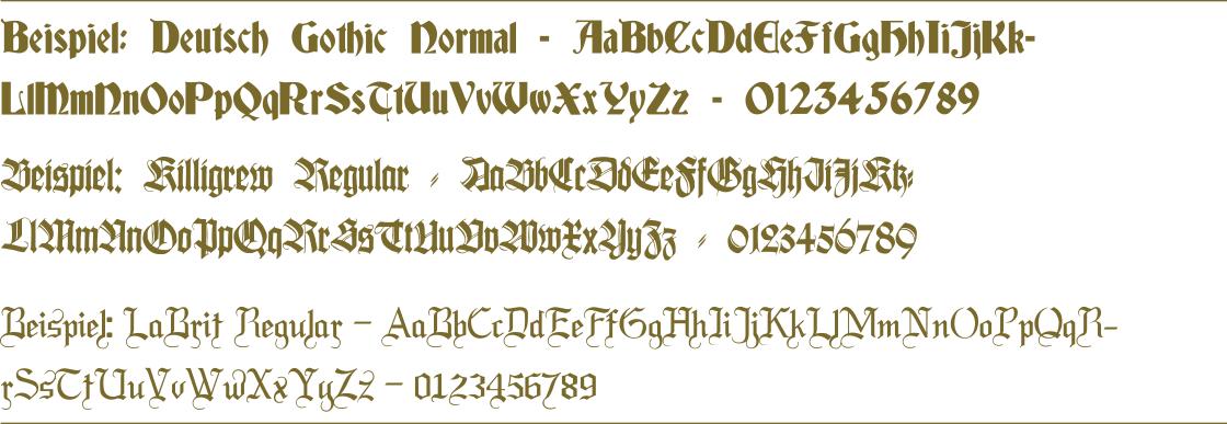 Abizeitung Schriftarten