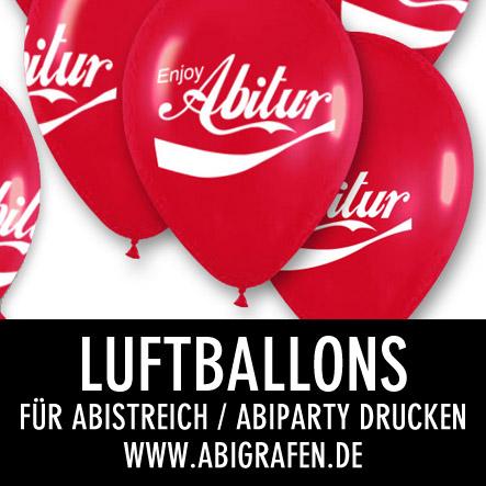 Abi Druckerei: Luftballons mit Abimottos / Abisprüchen für Abiball, Abistreich, Abiparty