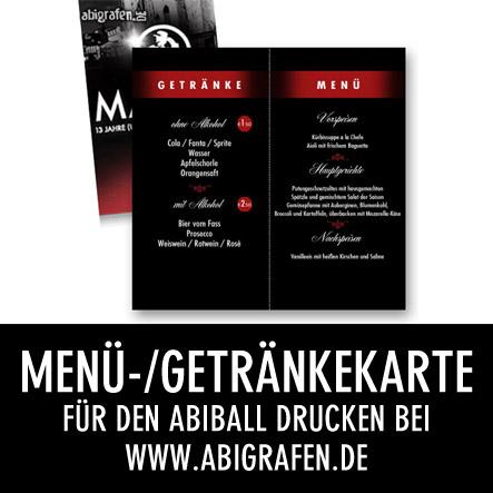 Abi Druckerei: Getränkekarte / Menükarte drucken für den Abiball / Abiturientenball