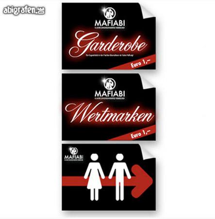 Schilder Abiball / Abiparty / Abifeier: Wertmarken-Verkauf, Toilette, Garderobe