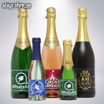 Sektflaschen mit Abimotto - Geschenktipi für den Abiball
