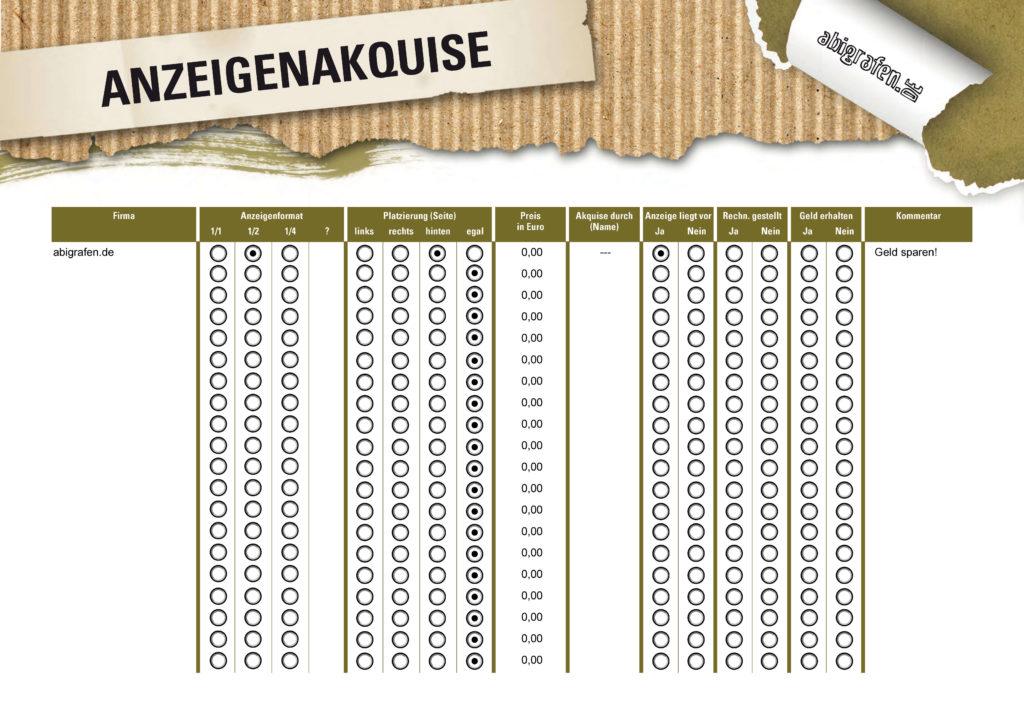 Sponsorenübersicht für Werbeanzeigen in Abizeitung/Abibuch (beschreibbare Vorlage)