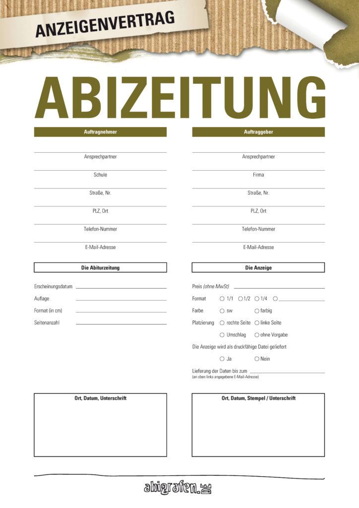 Anzeigenvertrag für Werbeanzeige in Abizeitung/Abibuch  (beschreibbare Vorlage)